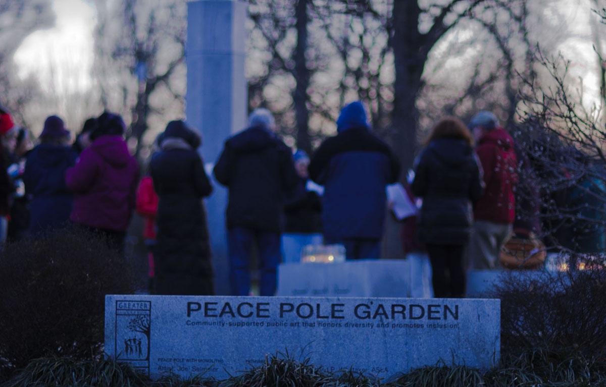 Beech Acres Park Cincinnati Granite Peace Pole sculpted by Joel Selmeier