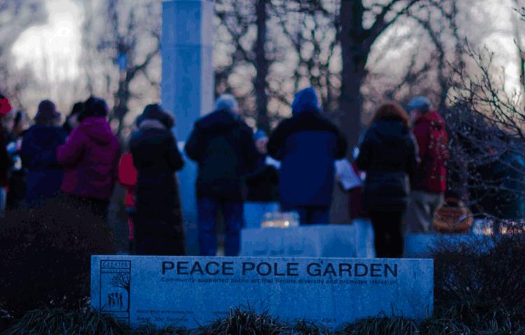 Large granite peace pole garden in Cincinnati Ohio by Joel Selmeier